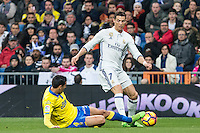 Vicente Gomez of UD Las Palmas competes for the ball with Cristiano Ronaldo of Real Madrid during the match of Spanish La Liga between Real Madrid and UD Las Palmas at  Santiago Bernabeu Stadium in Madrid, Spain. March 01, 2017. (ALTERPHOTOS / Rodrigo Jimenez) /NORTEPHOTOmex