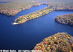 Promised Land State Park, lake aerial, fall foliage