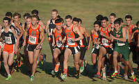 Oct 19, 2013; La Mirada, CA, USA; Occidental runners Harrison Luft (566), Louis Jochems (564), Colin Smith (570), Charles De Anda (555) and John Guzman (561) at the start of the mens race in the SCIAC multi-dual meet at La Mirada Park. Photo by Kirby Lee John Guzman Aguilar