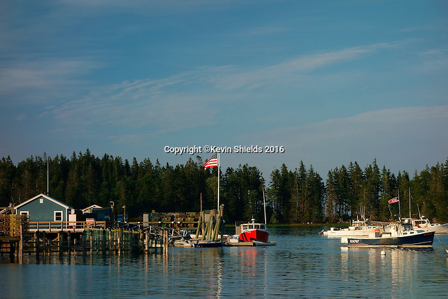 View of the harbor, Owls Head, Knox County, Maine, USA.
