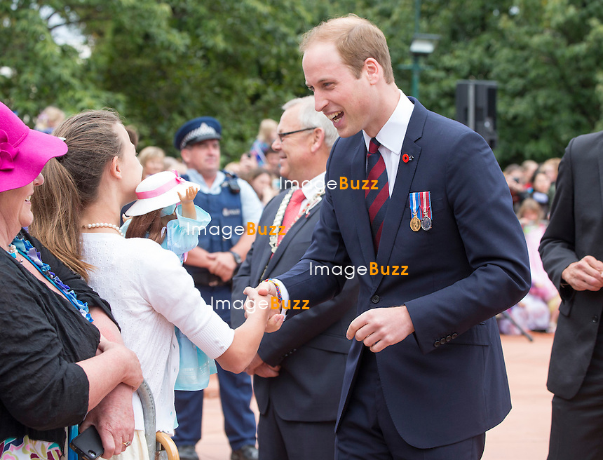 KATE, DUCHESS OF CAMBRIDGE AND PRINCE WILLIAM<br /> visited the First World War Memorial at Seymour Place, Blenheim, where they <br /> laid a wreath at the and did a walkabout _10/04/2014
