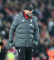 30th November 2019; Anfield, Liverpool, Merseyside, England; English Premier League Football, Liverpool versus Brighton and Hove Albion; Liverpool manager Jurgen Klopp reacts at the final whistle  - Strictly Editorial Use Only. No use with unauthorized audio, video, data, fixture lists, club/league logos or 'live' services. Online in-match use limited to 120 images, no video emulation. No use in betting, games or single club/league/player publications
