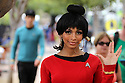 The Star Trek character Uhura gies the Vulcan sign with her hand during Comic-Con International 2016 in San Diego, California, July 23, 2016.