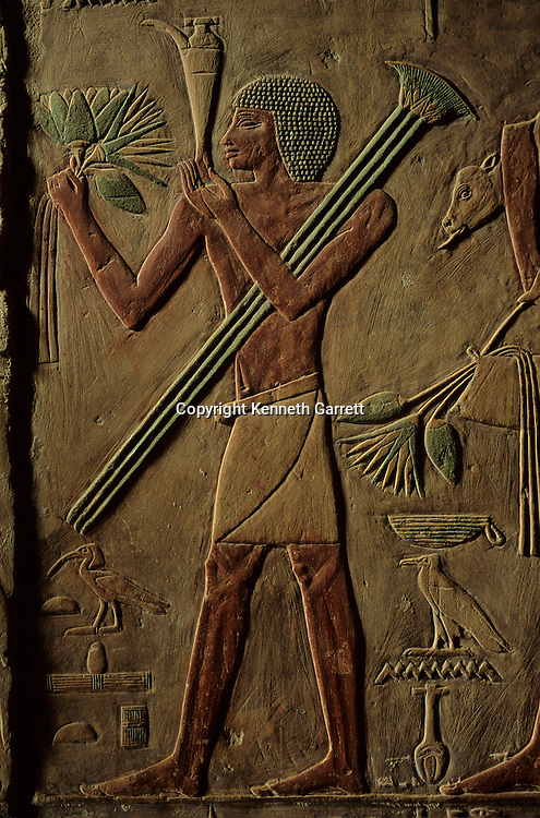 Egypt's Old Kingdom, A bearer brings offerings in the tomb of the Old Kingdom Sage Ptahhotep, ca 2360 BC