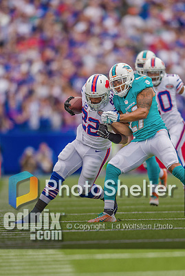 14 September 2014: Buffalo Bills running back Fred Jackson is driven out of bounds by Miami Dolphins strong safety Jimmy Wilson at Ralph Wilson Stadium in Orchard Park, NY. The Bills defeated the Dolphins 29-10 to win their home opener and start the season with a 2-0 record. Mandatory Credit: Ed Wolfstein Photo *** RAW (NEF) Image File Available ***