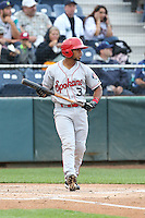 Sherman Lacrus (3) of the Spokane Indians bats during a game against the Everett AquaSox at Everett Memorial Stadium on July 25, 2015 in Everett, Washington. Spokane defeated Everett, 10-1. (Larry Goren/Four Seam Images)