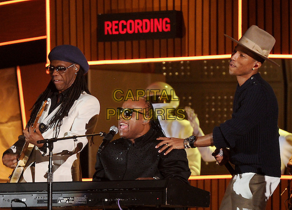 LOS ANGELES, CA - JANUARY 26 : Nile Rodgers (L) of 'Daft Punk', Stevie Wonder (2nd L), and Guy-Manuel de Homem-Christo and Thomas Bangalter of 'Daft Punk' and Pharrell Williams (2nd R) perform onstage at The 56th Annual GRAMMY Awards at Staples Center on January 26, 2014 in Los Angeles, California.<br /> CAP/MPI/PG<br /> &copy;PGFMicelotta/MediaPunch/Capital Pictures
