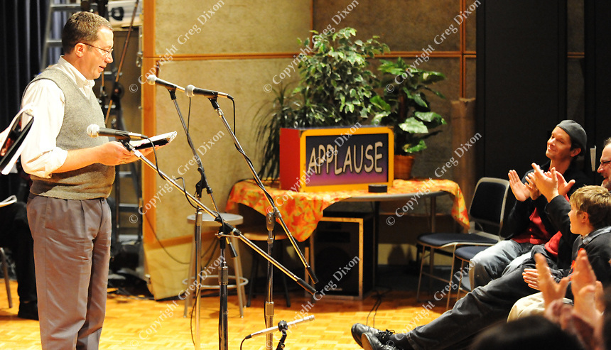 A live audience participates while Jim Buske acts during Forward Theater's production of 39 Steps on a Wisconsin Public Radio dress rehearsal on Saturday, 10/23/10 at Vilas Hall in Madison, Wisconsin