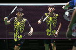 Yonex Australian Badminton Open Sydney 2013. Malaysia's Kah Ming Chooi and Yao Han Ow v Po Wei Cheng and Yu Hsien Lin of Chinese Taipei. The Malaysian pair wore halloween type uniforms during the match. Sydney, Australia. Wednesday, April 3rd 2013. Photo: (Steve Christo).