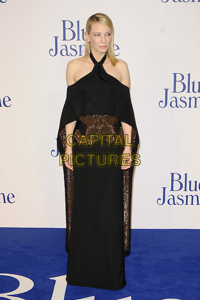 Cate Blanchett<br /> The &quot;Blue Jasmine&quot; UK film premiere, Odeon West End cinema, Leicester Square, London, England.<br /> September 17th, 2013<br /> full length black dress off the shoulder cape gold bronze embroidered <br /> CAP/CAN<br /> &copy;Can Nguyen/Capital Pictures