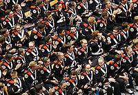 The Ohio State University Marching Band reacts to learning they will perform at the 2018 Macy's Thanksgiving Day Parade in New York City during the Skull Session prior to the NCAA football game against the Army Black Knights at Ohio Stadium in Columbus on Sept. 16, 2017. [Adam Cairns / Dispatch]