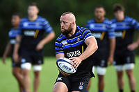 Tom Dunn of Bath Rugby looks to pass the ball. Bath Rugby pre-season training on August 14, 2018 at Farleigh House in Bath, England. Photo by: Patrick Khachfe / Onside Images