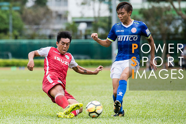 Kwok Fai Sham of Kwoon Chung Southern (L) trips up with Siu Kwan Cheng of Rangers (R) during the Premier League, week two match between Kwoon Chung Southern and BC Rangers at on September 09, 2017 in Hong Kong, China. Photo by Marcio Rodrigo Machado / Power Sport Images