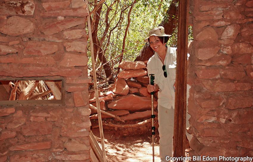 Flo is looking into an abandoned shelter at Palataki Ruins in Sedona, Arizona.