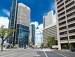Winnipeg downtown city street scenery with high-rise buildings of Artis and MTS. Main street, Winnipeg, Manitoba, Canada 2017.