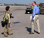 Freelance photographer Nancy Epstein with Gary Lewi during program at the American Airpower Museum at Republic Airport in Farmingdale on September 2, 2005, commemorating the 60th Anniversary of the surrender of Japan that ended World War II. (Newsday Photo / Jim Peppler).