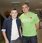 25/10/2014.   Munster Rugby's Tommy O'Donnell an ambassador of iCAN (Irish Childrens Arthritis Network)photographed on Saturday in Kids Town, Gillogue with Dylan Pearse(13), Old Singland rd.<br /> Picture: Liam Burke/Press 22