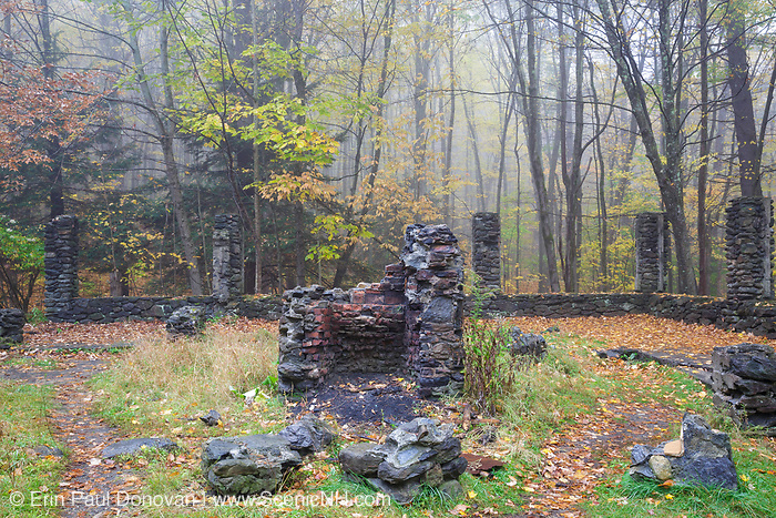 The ruins of Madame Antoinette Sherri's castle in Madame Sherri Forest of Chesterfield, New Hampshire during the autumn months. Madame Antoinette Sherri was a 1920s costume designer from New York, who was known for throwing parties for visitors from the city. The castle was destroyed by fire on October 18, 1962. The foundation and a stone staircase are all that remains.
