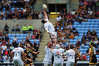 Mitch Lees of Exeter Chiefs rises high to win lineout ball. Aviva Premiership match, between Wasps and Exeter Chiefs on September 4, 2016 at the Ricoh Arena in Coventry, England. Photo by: Patrick Khachfe / JMP