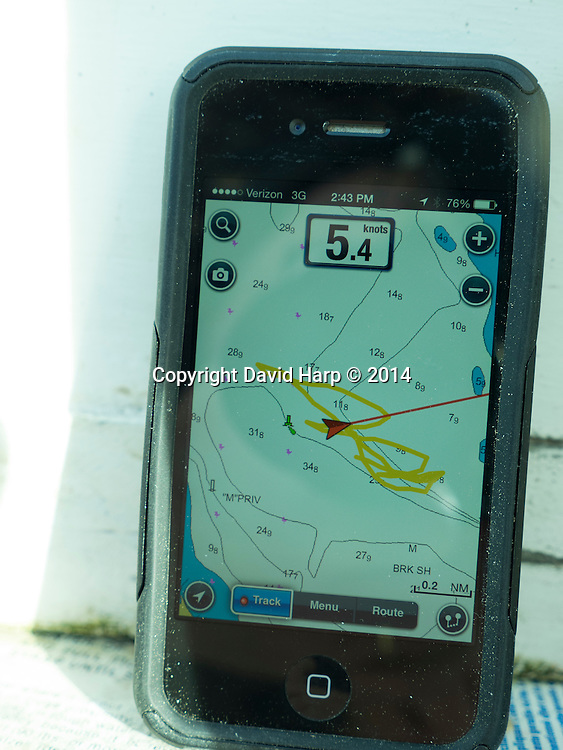 The GPS ap on a cell phone shows the looping pattern of dredging under sail.
