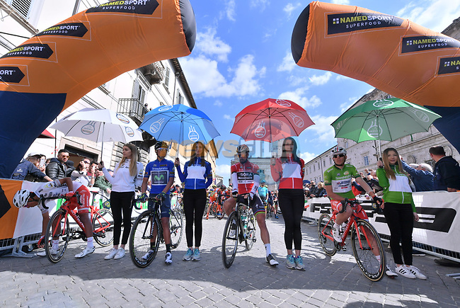 The jersey holders line up for the start of Stage 6 of the 2017 Tirreno Adriatico running 168km from Ascoli Piceno to Civitanova Marche, Italy. 13th March 2017.<br /> Picture: La Presse/Gian Mattia D'Alberto | Cyclefile<br /> <br /> <br /> All photos usage must carry mandatory copyright credit (&copy; Cyclefile | La Presse)