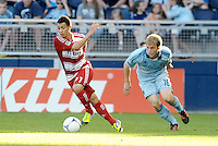 Bryan Leyva (21) FC Dallas midfielder goes past Sporting KC defender Seth Sinovic... Sporting KC defeated FC Dallas 2-1 at LIVESTRONG Sporting Park, Kansas City, Kansas.