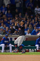 Cleveland Indians shortstop Francisco Lindor (12) catches a popup in the seventh inning during Game 4 of the Major League Baseball World Series against the Chicago Cubs on October 29, 2016 at Wrigley Field in Chicago, Illinois.  (Mike Janes/Four Seam Images)