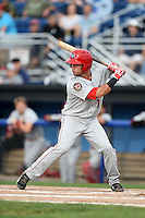 Auburn Doubledays second baseman Bryan Mejia (1) at bat during a game against the Batavia Muckdogs on August 31, 2014 at Dwyer Stadium in Batavia, New York.  Batavia defeated Auburn 7-6.  (Mike Janes/Four Seam Images)