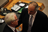Syrian Ambassador to the United Nations Bashar Jaafari speaks with Russian Ambassador to the United Nations Vitaly Churkin after a meeting at the security council at the UN headquarter in New York, July 19, 2012.  UN Security Council vetoed a resolution that would impose sanctions against Syria's President Bashar al-Assad if he does not end the use of heavy weapons.  as members of the 15-nation council to block resolutions on Syria. Photo by Eduardo Munoz Alvarez / VIEW.