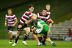 Mark Selwyn runs into the tackle of Hamish Gosling. ITM Cup rugby game between Counties Manukau and Manawatu played at Bayer Growers Stadium on Saturday August 21st 2010..Counties Manukau won 35 - 14 after leading 14 - 7 at halftime.