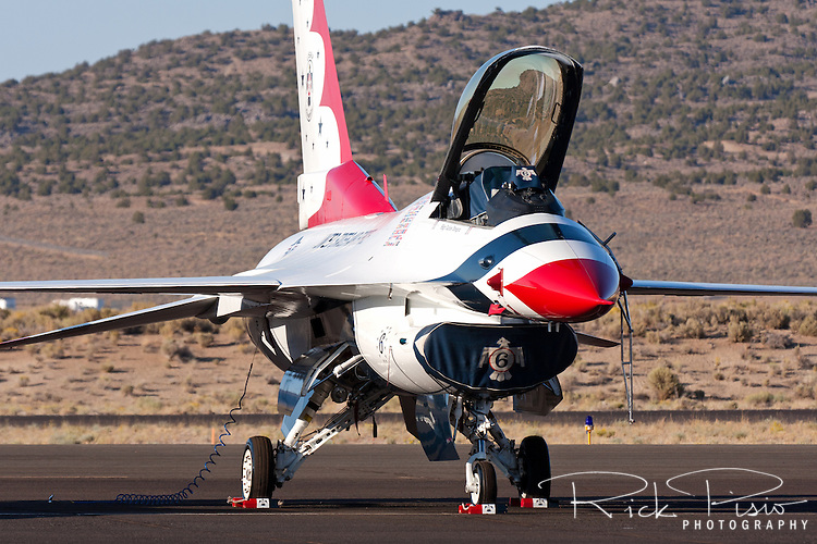 Thunderbird #6 of the United States Air Force Thunderbirds sits on the ramp. The Thunderbirds were formed in 1956 and have been flying the F-16C Fighting Falcon since 1992.