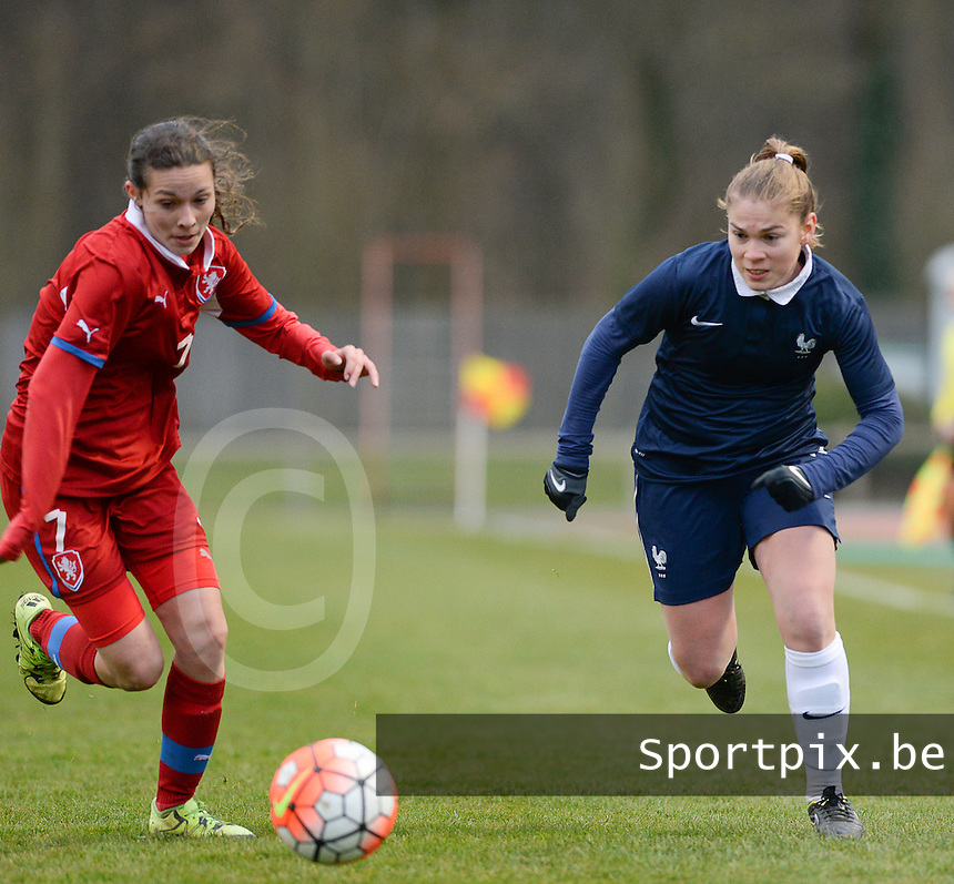 20160319 - FLERS , FRANCE : French Charlotte Rebours (R) and Czech Kristyna Prikaska (L) pictured during the soccer match between the women under 17 teams of  France and the Czech Republic , on the first matchday in group 3 of the UEFA Women Under17 Elite rounds at Stade du Haze in Flers , France . Saturday 19th March 2016 . PHOTO DAVID CATRY