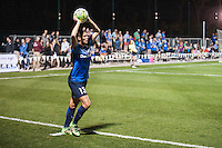 Kansas City, Mo. - Saturday April 23, 2016: FC Kansas City defender Brittany Taylor (13) on a throw in during a match against Portland Thorns FC at Swope Soccer Village. The match ended in a 1-1 draw.