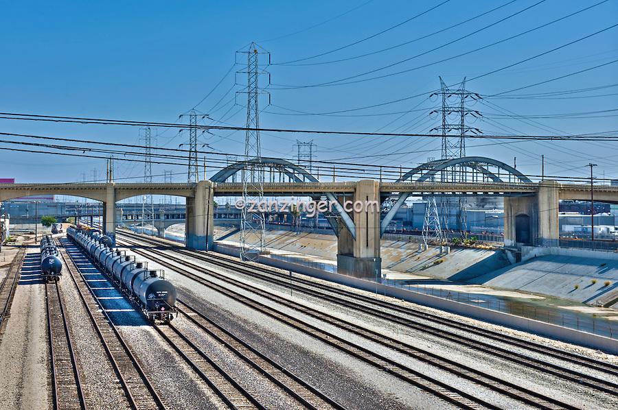 LA River, Trains, Tracks, Buildings, Bridges, Downtown, Los Angeles, CA,