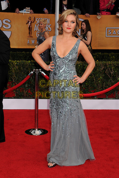 Julia Stiles.Arrivals at the 19th Annual Screen Actors Guild Awards at the Shrine Auditorium in Los Angeles, California, USA..27th January 2013.SAG SAGs full length dress blue grey gray silver sequins sequined hands on hips.CAP/ADM/BP.©Byron Purvis/AdMedia/Capital Pictures