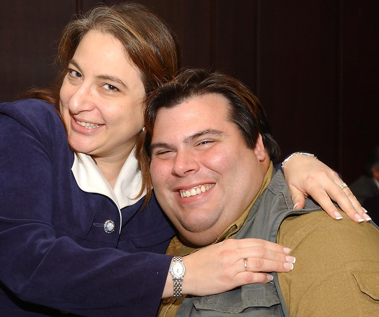 Eden Laikin and Tom Ferrara seen at a celebration dinner given by Newsday for employees involved in the Fire Alarm series written by Elizabeth Moore. Event held at a Melville Restaurant on Monday November 21, 2005. (Photo Copyright Jim Peppler 2005).