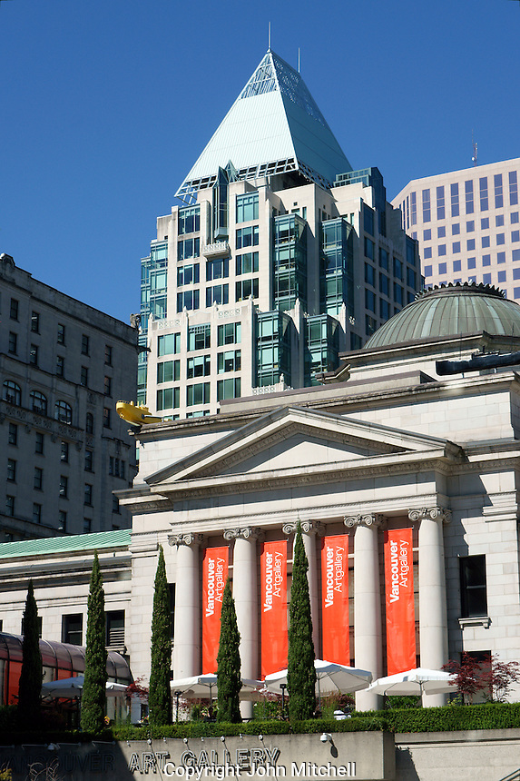 The Vancouver Art Gallery building and outdoor cafe in downtown Vancouver, BC, Canada