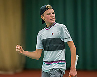 Wateringen, The Netherlands, December 8,  2019, De Rhijenhof , NOJK juniors 14 and18 years, Finals boys 14 years: Abel Forger celebrates matchpoint<br /> Photo: www.tennisimages.com/Henk Koster