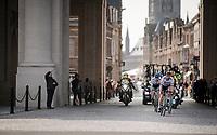 race leaders passing through the Menin Gate War Memorial<br /> <br /> 81st Gent-Wevelgem 'in Flanders Fields' 2019<br /> One day race (1.UWT) from Deinze to Wevelgem (BEL/251km)<br /> <br /> ©kramon