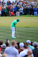 Rickie Fowler (USA) on the 2nd green during the 3rd round of the Waste Management Phoenix Open, TPC Scottsdale, Scottsdale, Arisona, USA. 02/02/2019.<br /> Picture Fran Caffrey / Golffile.ie<br /> <br /> All photo usage must carry mandatory copyright credit (&copy; Golffile | Fran Caffrey)