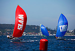 Day 3 of the Sail Sydney 2009 regatta, 49ers Olympic class..Held annually Sail Sydney take place from the 5-8 December 2009 on the magnificent Sydney Harbour as part of the Sail Down Under series, incorporating Sail Brisbane, Sail Sydney and Sail Melbourne..Competitors from around the world bring Sydney Harbour to life as athletes look to establish themselves on the sailing scene in the lead up to the London Olympics in 2012..The four day regatta incorporate Olympic, International and Youth classes on the three Sydney Harbour courses used by the 2000 Sydney Olympics. Spectacular action from the 49er and International Moth classes can be expected along with the Laser, Laser Radial, Finn, RS:X and 470s as they campaign towards 2012..Over 400 participate and sail out of host venue: Woollahra Sailing Club in Rose Bay.