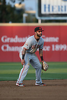 C.J. Hinojosa (2) of the San Jose Giants in the field at shortstop against the Rancho Cucamonga Quakes at LoanMart Field on May 23, 2016 in Rancho Cucamonga, California. San Jose defeated Rancho Cucamonga, 4-2. (Larry Goren/Four Seam Images)