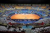 SAO PAULO 26 DE FEVEREIRO DE 2014 - BRASIL OPEN SAO PAULO 2014 - O tenista brasileiro João Souza (Feijão) disputou com o Espanhol Albert Montanhes, onde o brasileiro sentiu uma dor na lombar durante a partida, fazendo com que o mesmo abandanasse a partida no segundo set, o que rendeu a vitória ao espanhol. O Brasil Open acontece no Ginásio do Ibirapuera, na cidade de São Paulo durante os dias 22 de fevereiro a 02 de março. foto: Paulo Fischer/ Brazil Photo Press.