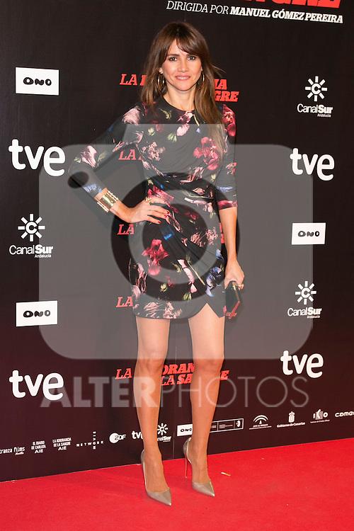"""Goya Toledo attends """"La Ignorancia de la Sangre"""" Premiere at Capitol Cinema in Madrid, Spain. November 13, 2014. (ALTERPHOTOS/Carlos Dafonte)"""