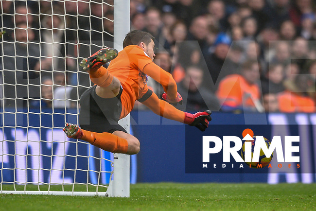 Matthew Ryan Goalkeeper of Brighton & Hove Albion (1) saves well from a David Luiz of Chelsea (30) Free Kick   during the Premier League match between Brighton and Hove Albion and Chelsea at the American Express Community Stadium, Brighton and Hove, England on 20 January 2018. Photo by Edward Thomas / PRiME Media Images.