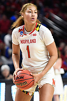 College Park, MD - March 25, 2019: Maryland Terrapins forward Shakira Austin (1) during second round game of NCAAW Tournament between UCLA and Maryland at Xfinity Center in College Park, MD. UCLA advanced to the Sweet 16 defeating Maryland 85-80.(Photo by Phil Peters/Media Images International)