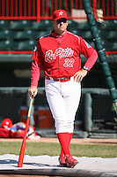 May 29th 2008:  Coach Tom Filer of the Reading Phillies, Class-AA affiliate of the Philadelphia Phillies, during a game at Jerry Uht Park in Erie, PA.  Photo by:  Mike Janes/Four Seam Images