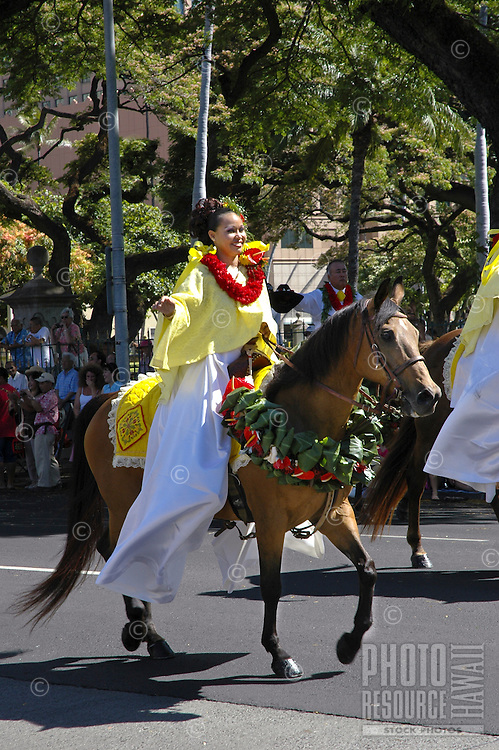 Pa'u rider in the annual King Kamehameha Day Parade. The first ruler to unite all the islands is remembered each June 11th.