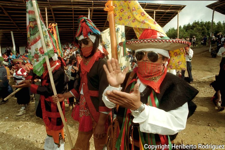 Zapatista rebels attend the Intergalactica meeting in the EZLN stronghold Oventic in the Chiapas highlands, July 1996. Photo by Heriberto Rodriguez