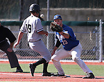 College of Southern Idaho's Harrison Ramey gets back to first ahead of the pick-off throw to Wildcats' Corey Pool at Western Nevada College in Carson City, Nev., on Thursday, Feb. 26, 2015. <br /> Photo by Cathleen Allison/Nevada Photo Source